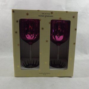 NEW Set of 2 Wine Glasses - Pink